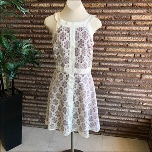 R & K Originals White Lace on Purple Halter Dress